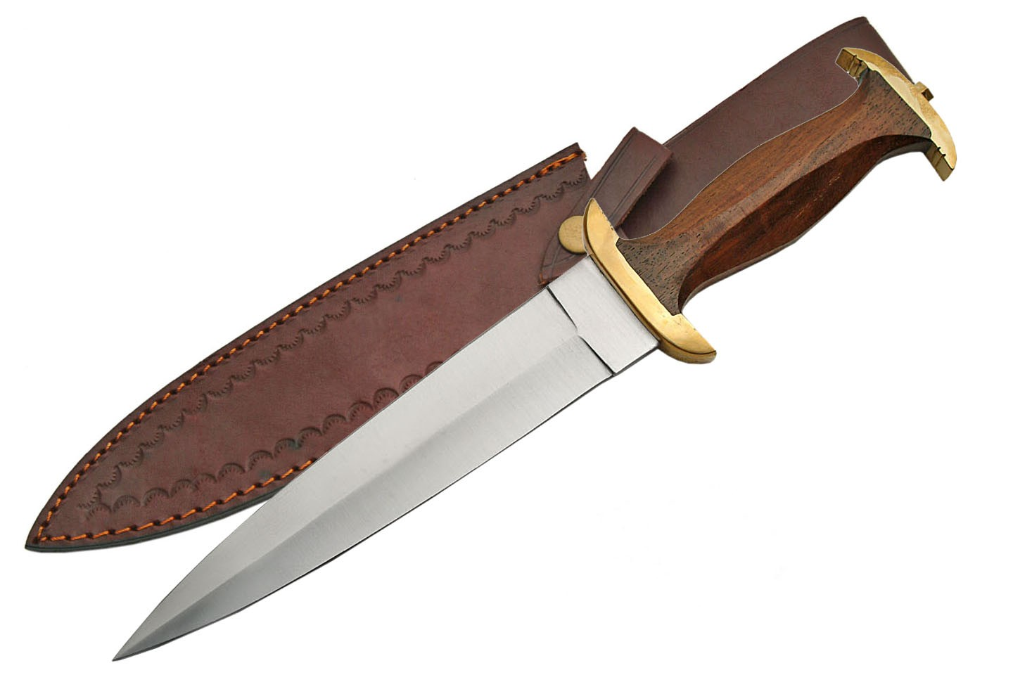 "Dagger | 15"" Fixed-Blade Wood Brass Handle Stainless Blade + Leather Sheath"