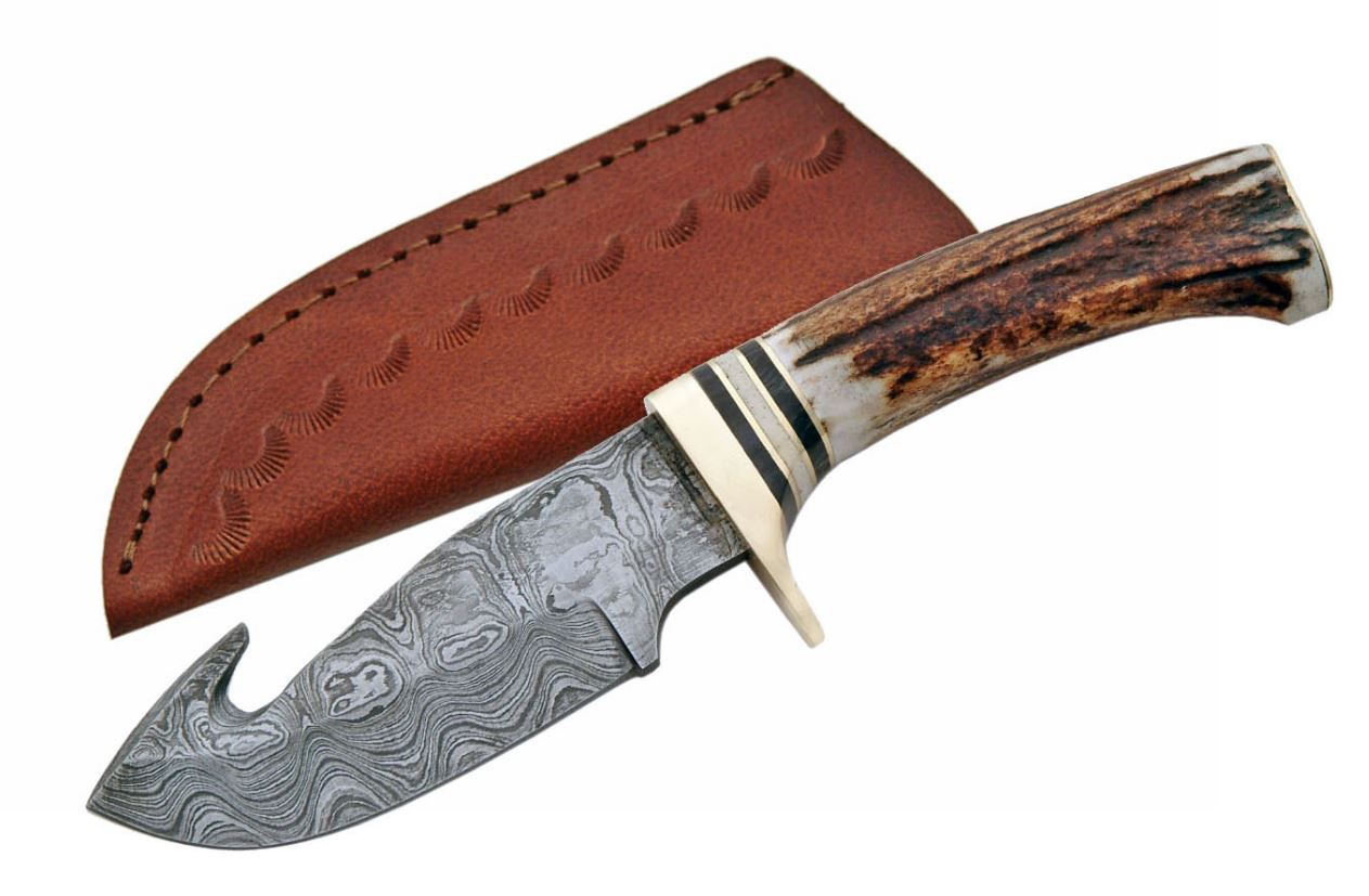 "Damascus Steel Gut Hook Skinning Hunter Knife | 9"" Stag Handle + Leather Sheath"