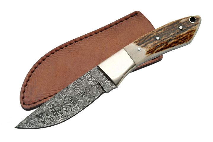 "8"" Damascus Steel Blade, Stag Horn Handle Hunter Skinning Knife W/ Sheath"