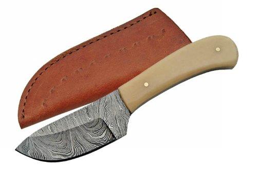 Damascus Genuine Bone Handle Skinning Hunting Knife Display Men'S Gift
