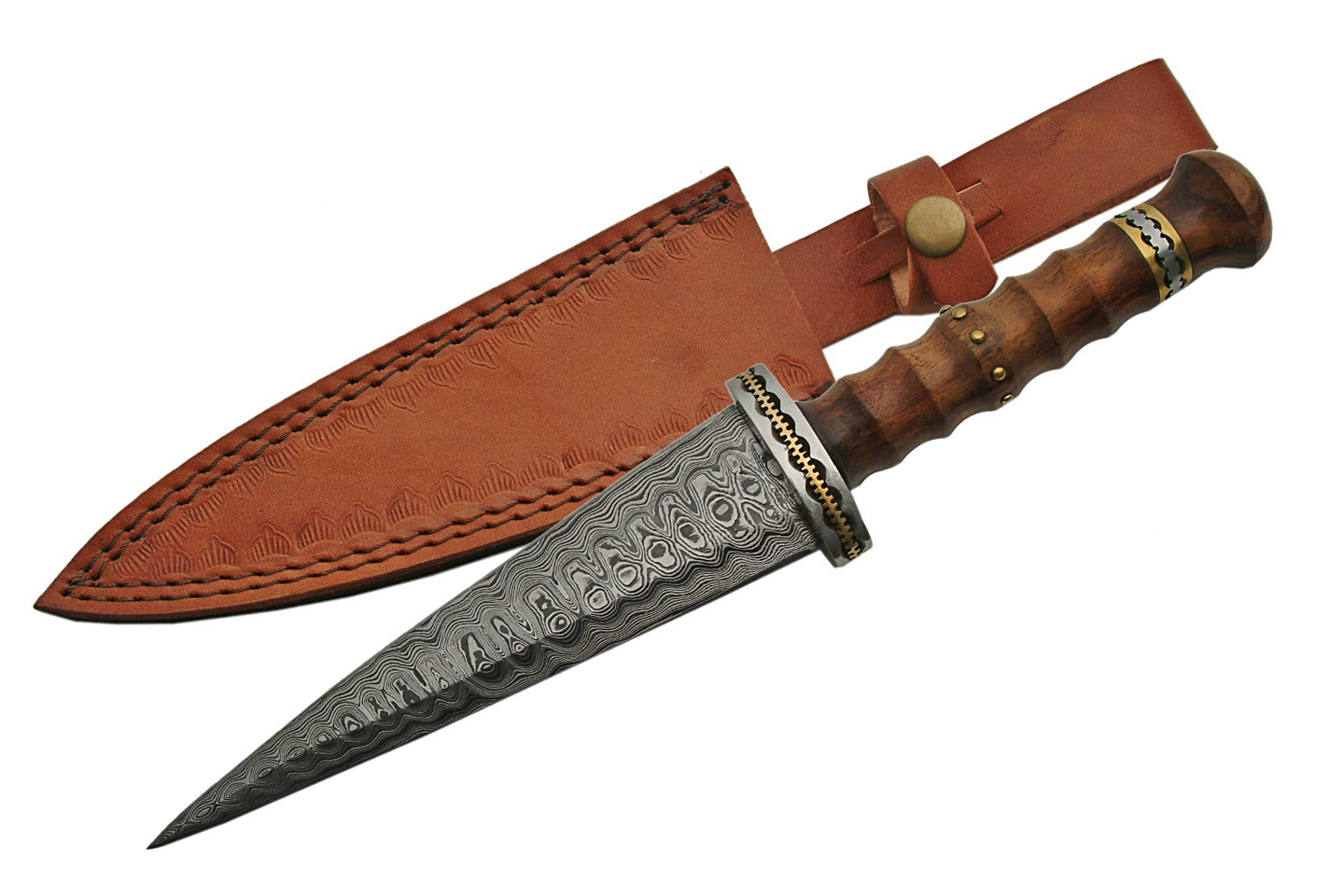 "Damascus Steel Dagger | 12"" Medieval Dirk Rosewood Handle + Leather Sheath"