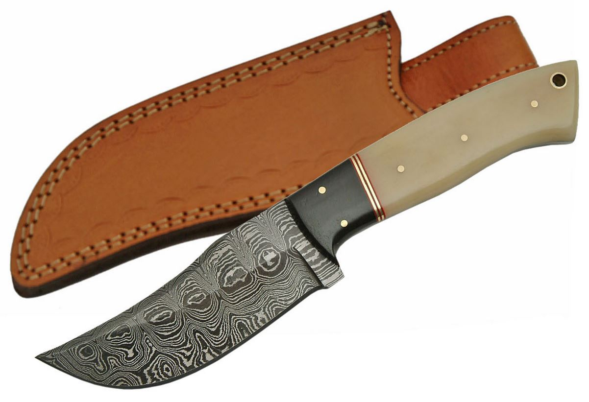 "Fixed-Blade Hunting Knife 4.75"" Damascus Steel Blade Bone Handle Skinner Sheath"