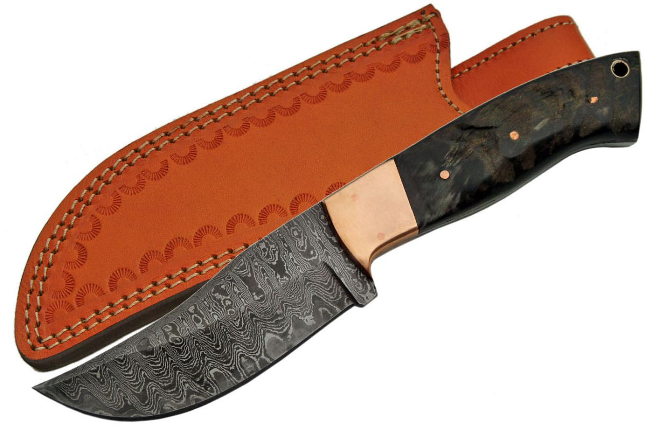"Fixed-Blade Hunting Knife | 4.5"" Damascus Steel Blade Horn/Bone Handle Skinner"