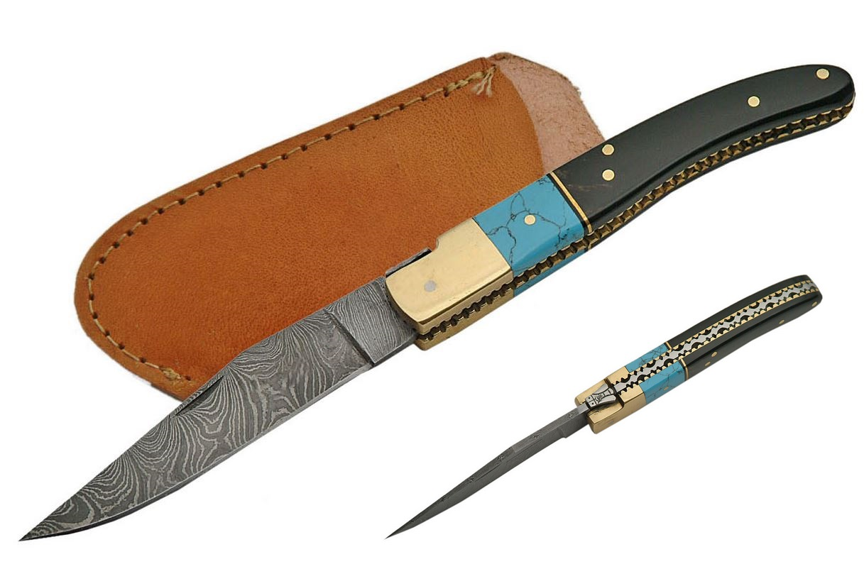 Folding Pocket Knife | Damascus Steel Blade Turquoise & Black Horn + Sheath