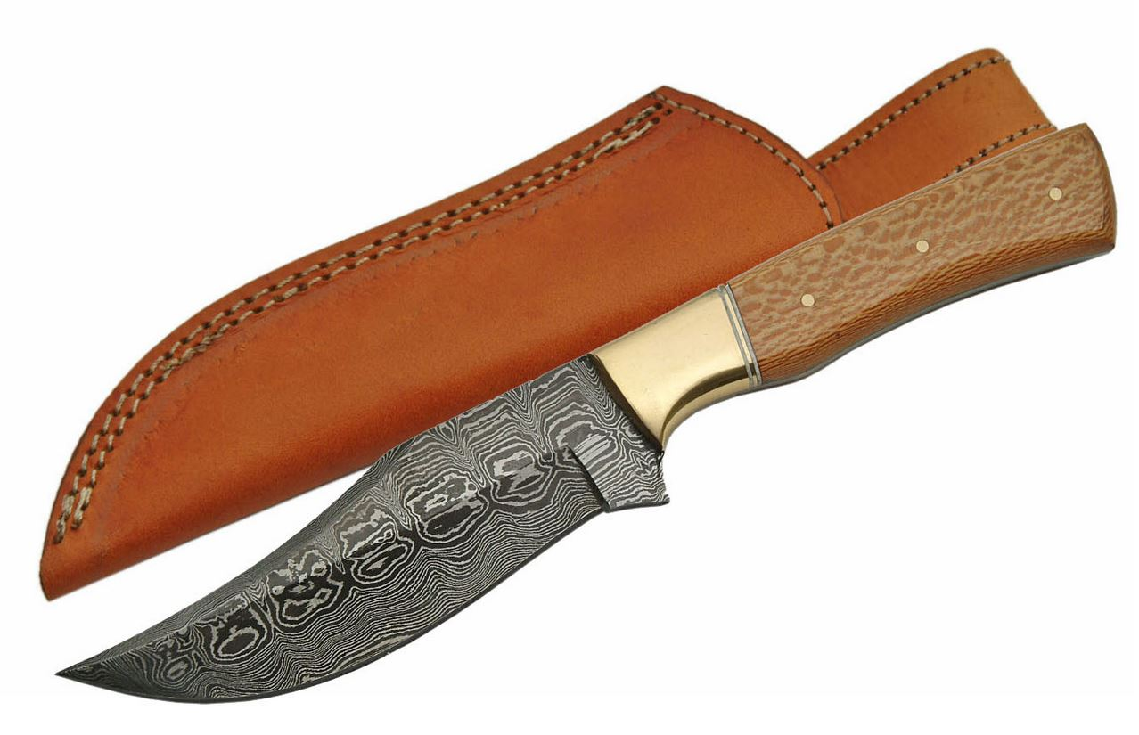 "Fixed-Blade Hunting Knife | 4.75"" Damascus Steel Blade Maplewood Handle + Sheath"