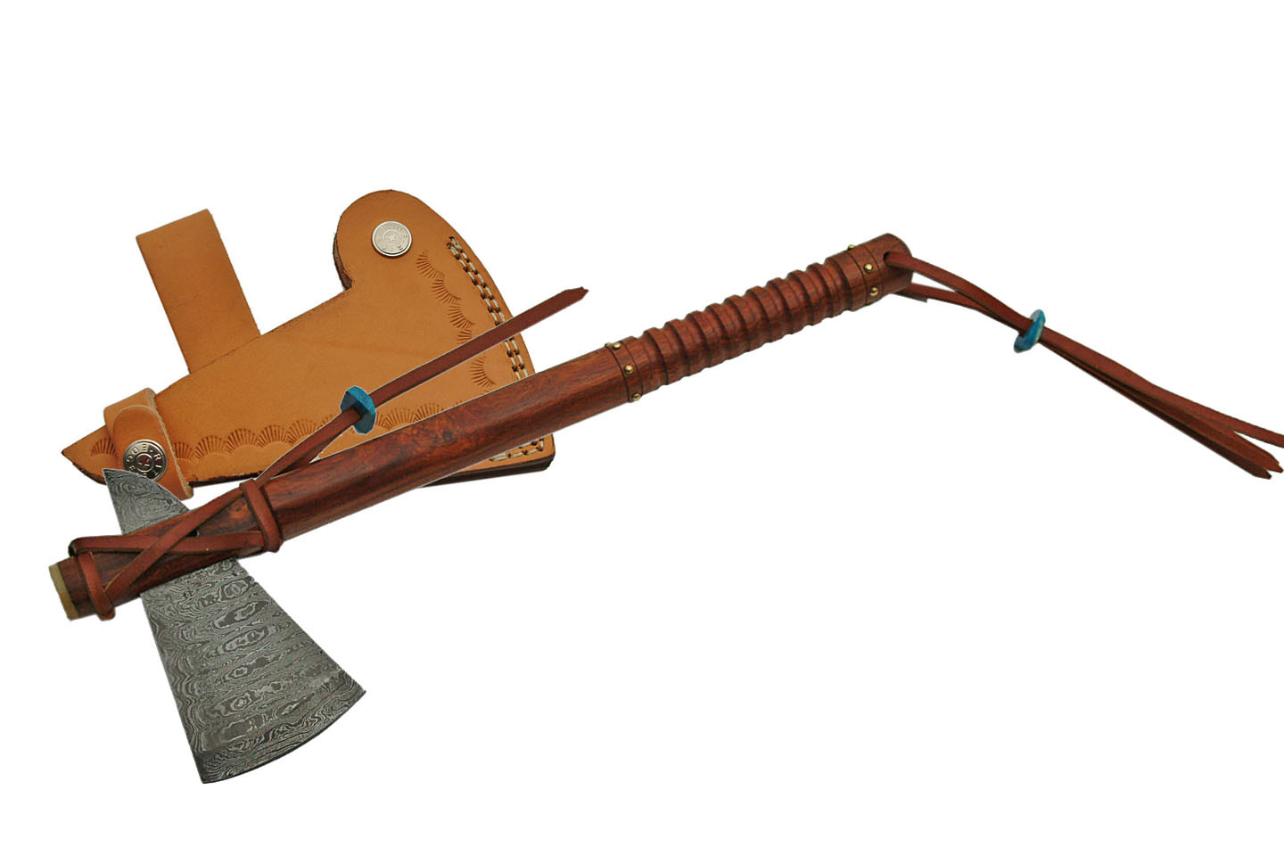 Native American Tomahawk | Damascus Steel Blade Hatchet Hand Ax + Leather Sheath