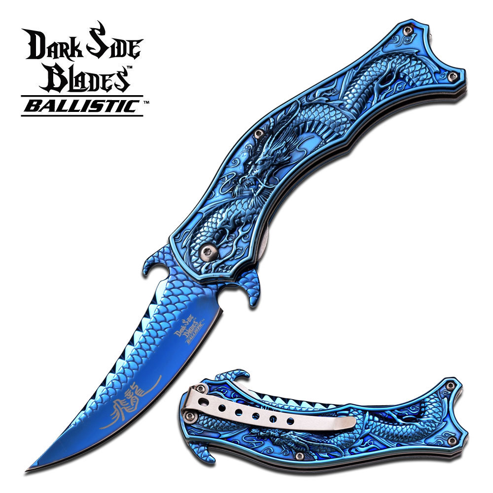 Dark Side Blades Blue Titanium Chinese Dragon Spring-Assisted Folding Knife