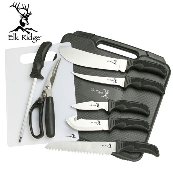 9-Pc. Elk Ridge Big Game Hunter Knife Set W/ Carry Case