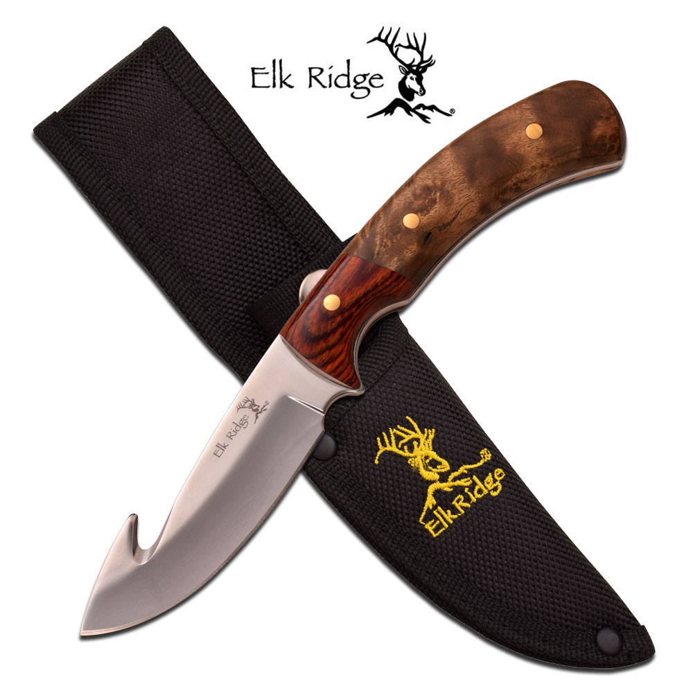Fixed-Blade Hunting Knife Elk Ridge Gut Hook Full Tang Skinner Wood Mirror Blade
