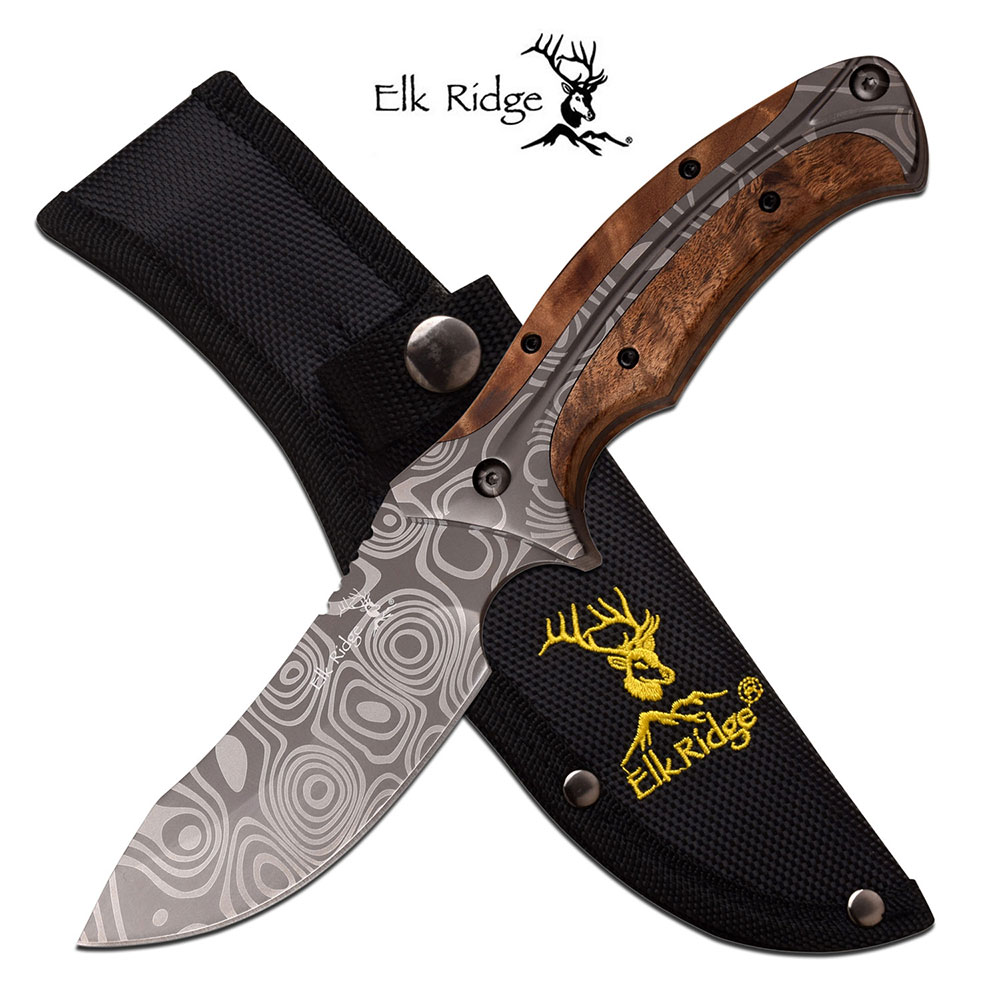 "Fixed-Blade Hunting Knife | Elk Ridge 8.75"" Damascus-Style Blade Wood Skinner"