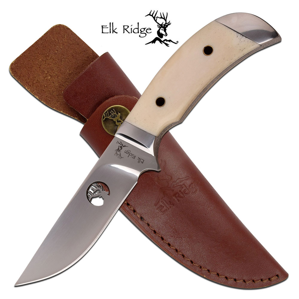 "Fixed-Blade Hunting Knife Elk Ridge 8.5"" White Bone Skinner Blade + Sheath"