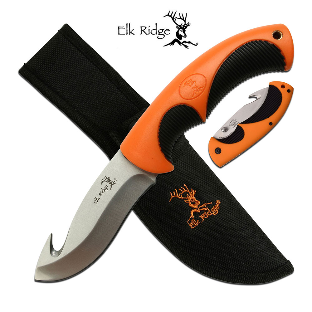 Folding Knife Elk Ridge Gut Hook Blade Hunter Skinner Orange Black + Sheath
