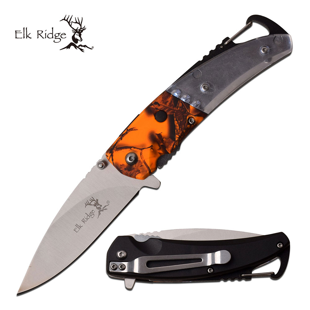 Spring-Assist Folding Knife | Elk Ridge Orange Camo Led Carabiner Bottle Opener