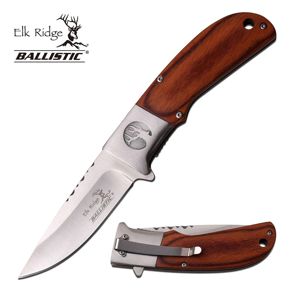 Spring-Assist Folding Pocket Knife   Elk Ridge Brown Wood Hunter Blade A168Wd