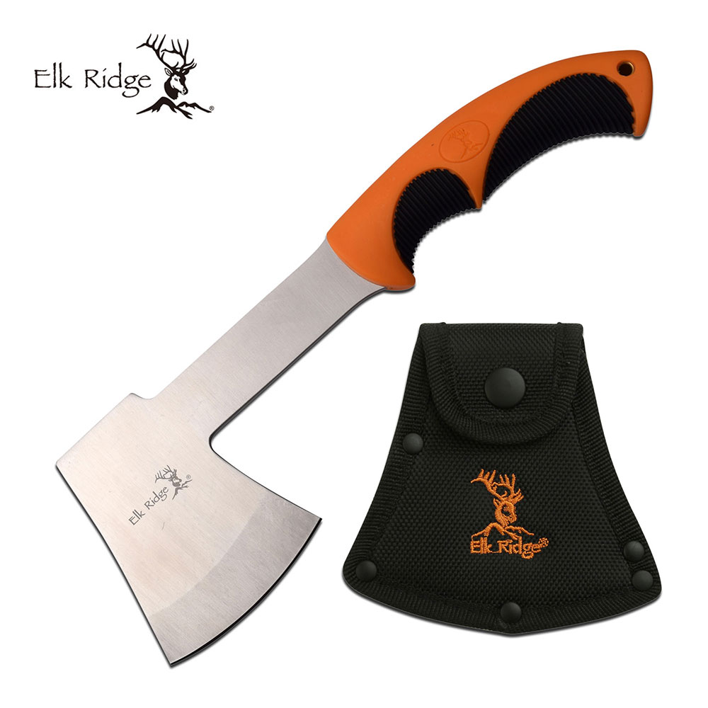 "Hatchet | 11"" Survival Camp Hand Axe Elk Ridge Orange Black Hi-Vis + Sheath"