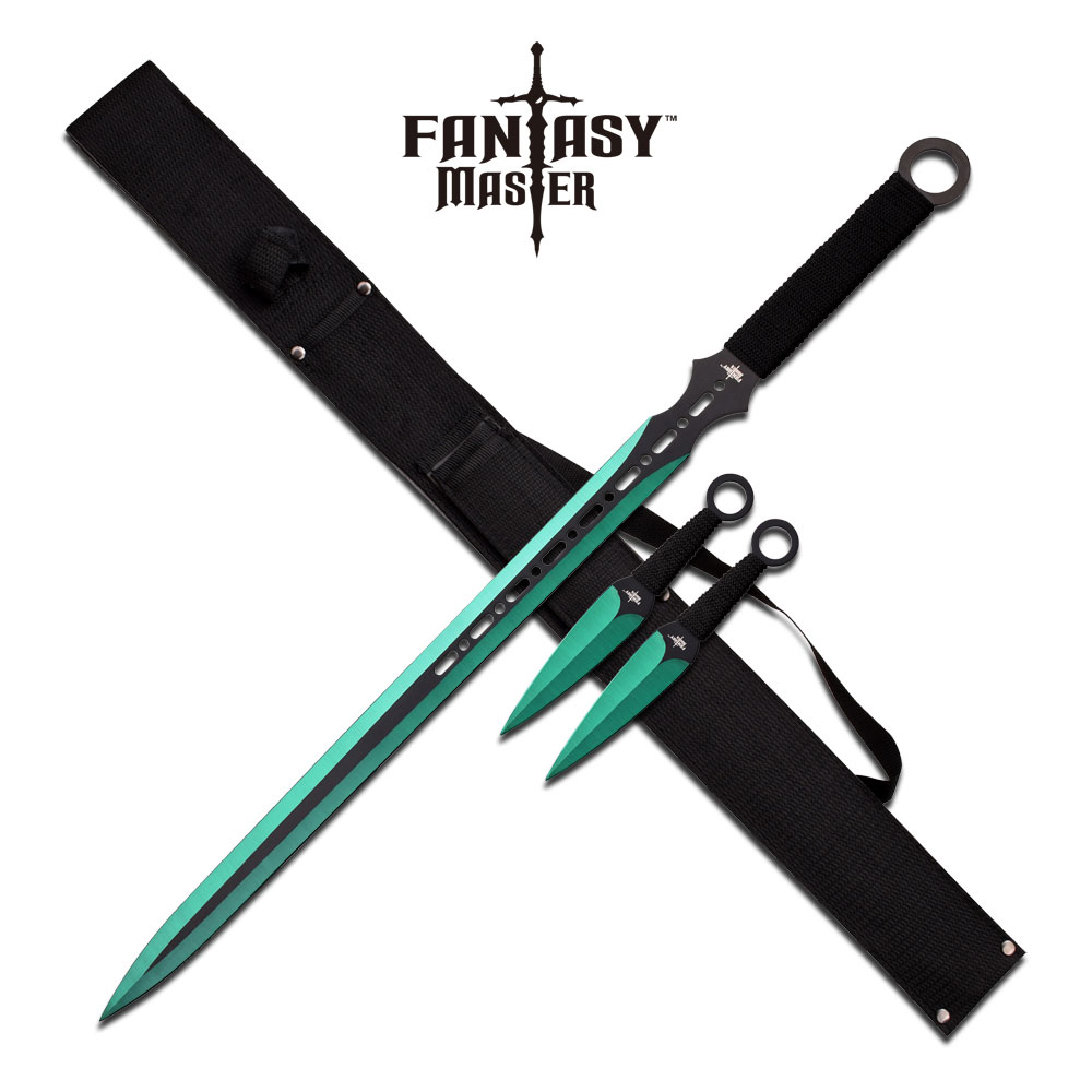 NINJA SWORD SET | Black Green Blade Double Edge + 2 Kunai Throwing Knives