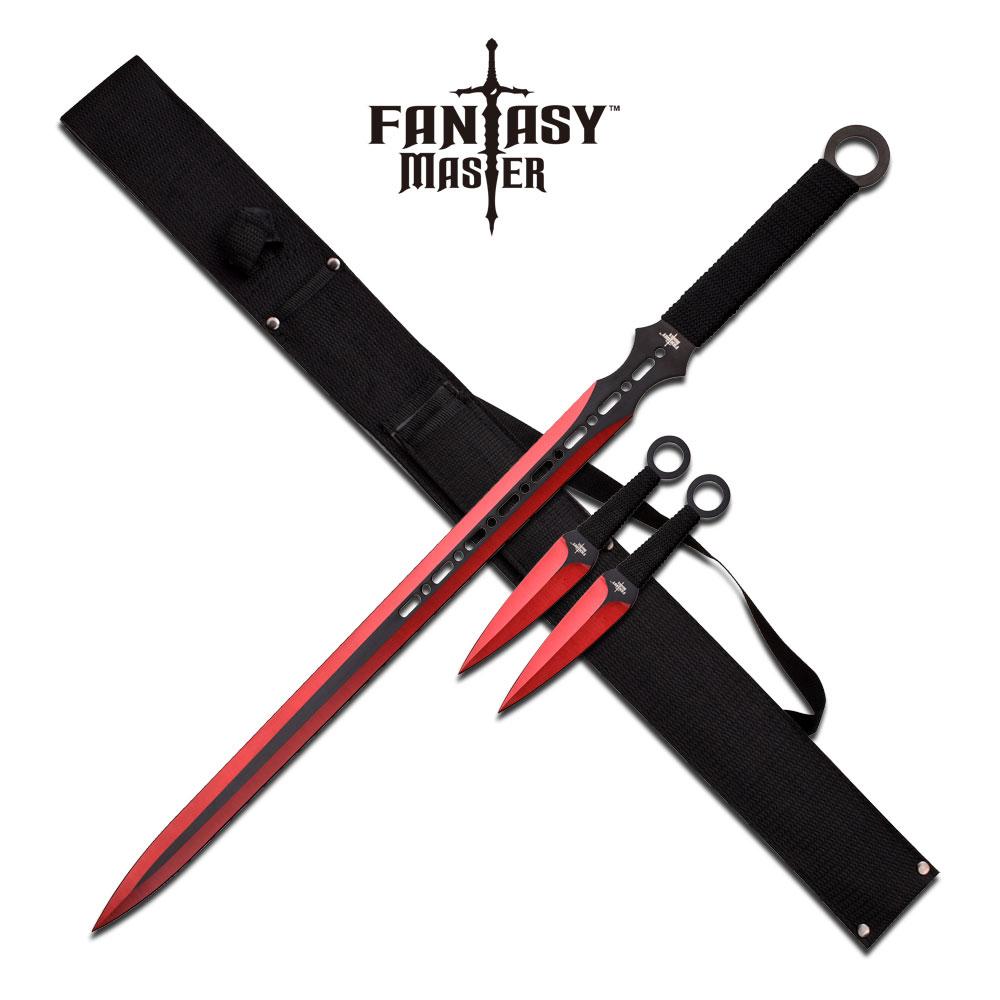 Ninja Sword Set | Fantasy Black Redblade Double Edge + 2 Kunai Throwing Knives