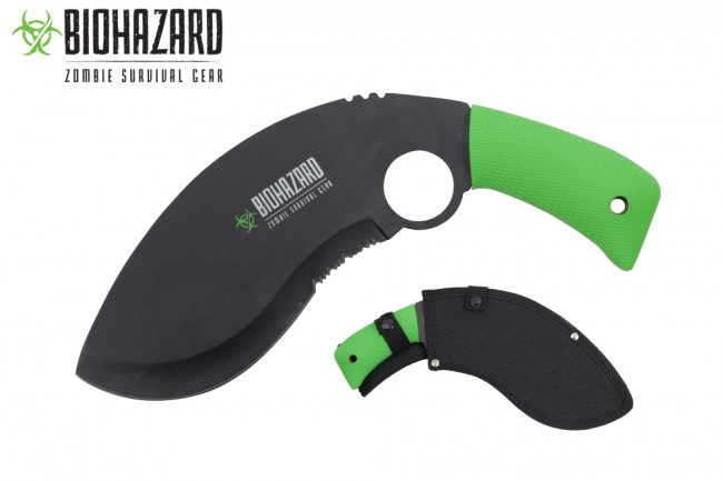 Kukri Machete Biohazard Curved Serrated Black Zombie Blade Green Handle + Sheath