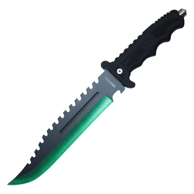 "Tactical Hunting Knife 13.5"" Wartech Green Black Blade Military Combat + Sheath"