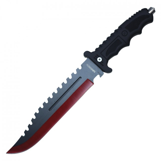 "Tactical Hunting Knife | 13.5"" Wartech Red Black Blade Military Combat + Sheath"