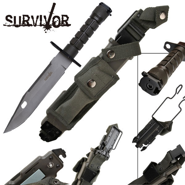 "12"" M9 Functional Bayonet Style Heavy Duty Military Survival Knife w/ Sheath"