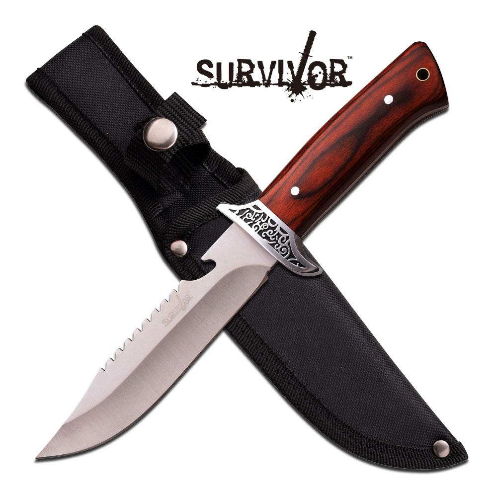 Survivor Fixed-Blade Wood Handle Rear Serrations Hunting Knife W/ Sheath