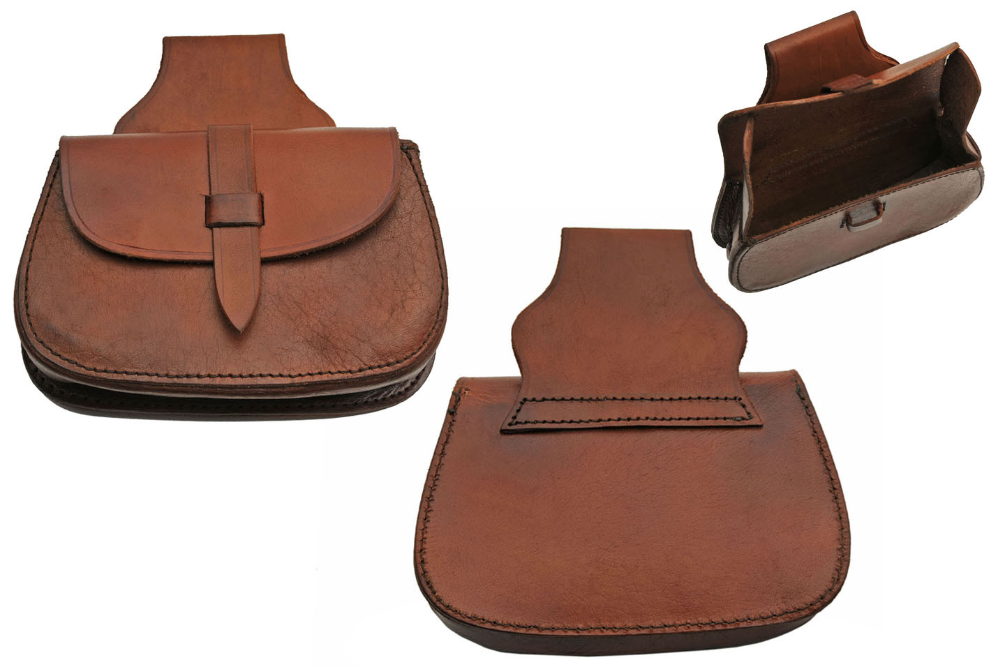 Medieval Belt Bag | Brown Real Leather Day Sporran Pouch