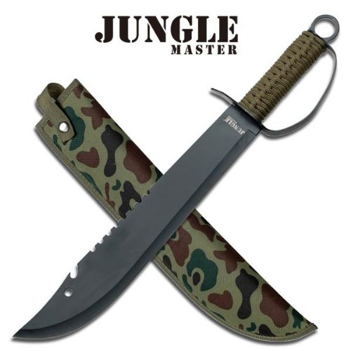 Fixed-Blade Machete Knife   Black Army Green Cord Handle Knuckle Guard