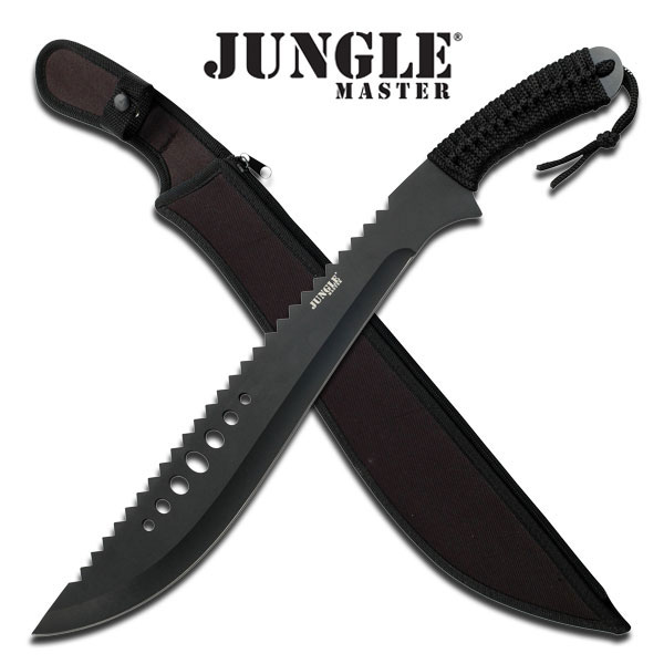 "Fixed Blade Machete 21"" Jungle Master Full Tang Black Tactical W/ Sheath Jm-031B"