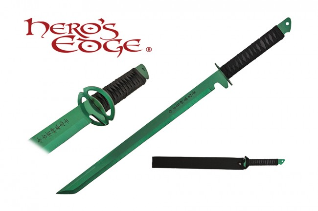 "Tactical Sword | Japanese Ninja 27"" Green Tanto Blade Combat Hand Guard + Sheath"