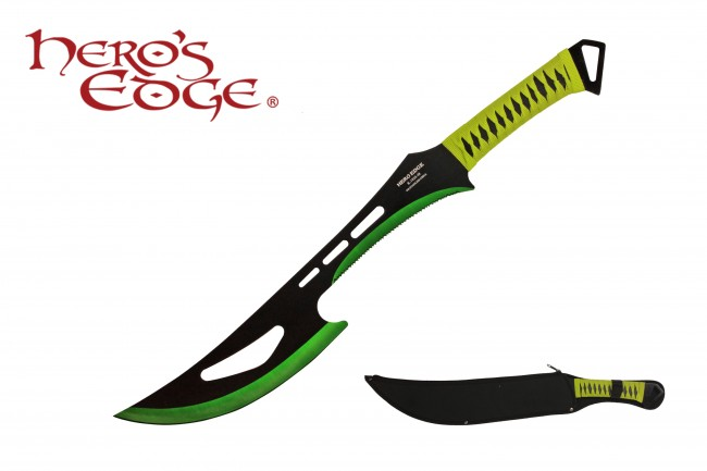 "Ninja Sword | 24"" Black Green Blade Tactical Combat Full Tang + Sheath"