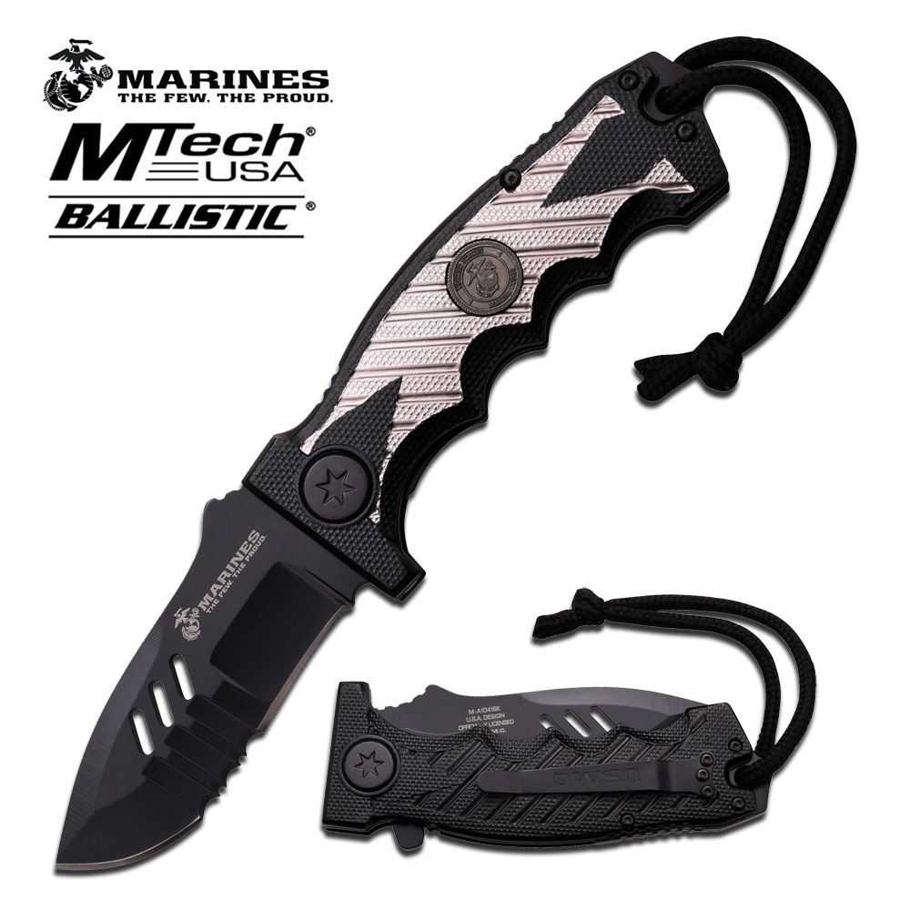 Spring-Assist Folding Pocket Knife | Mtech Black Silver Usmc Marines Tactical