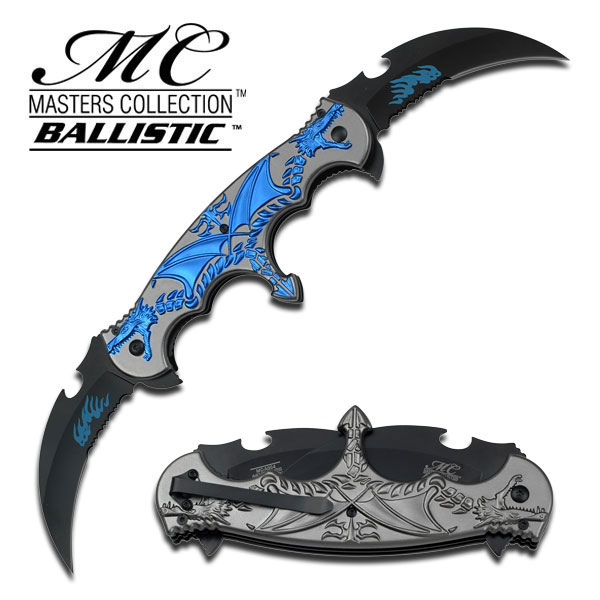 Spring-Assist Folding Pocket Knife Black Dual Serrated Blade Blue Gray Dragon