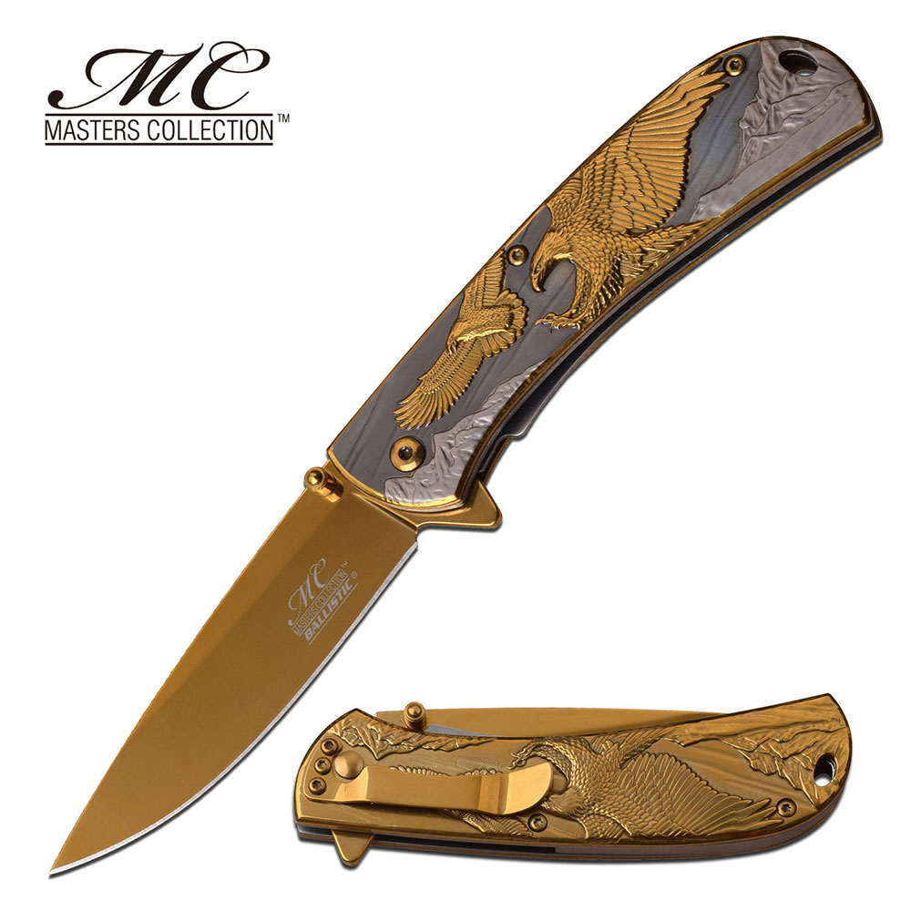 Spring-Assist Folding Knife | Gold Titanium American Eagle Stainless Steel Edc