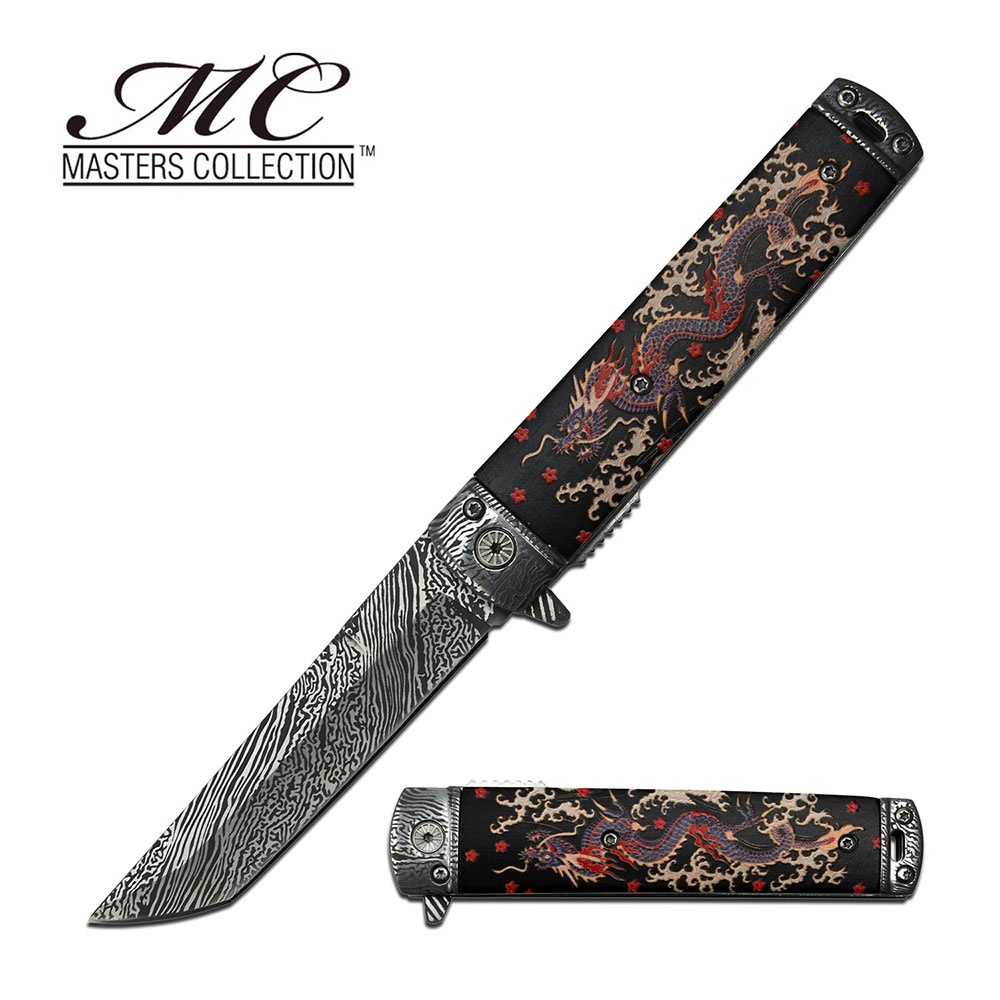 Spring-Assist Folding Knife   Black Asian Chinese Dragon 3.6