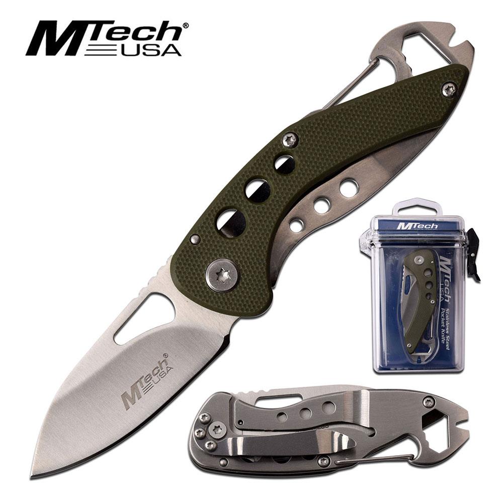 Minimalist Folding Knife Mtech Green Low Profile Utility Multi-Tool Blade + Case
