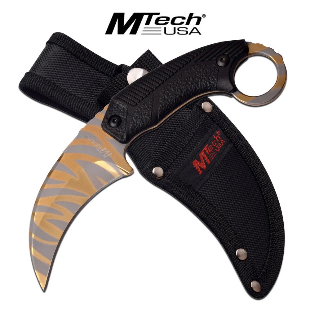Fixed-Blade Tactical Knife   Mtech Gold Tiger Stripe Karambit Tactical Combat