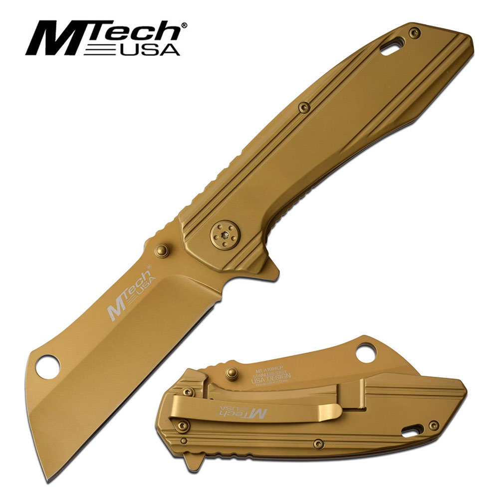 Spring-Assist Folding Knife | Mtech Sheepsfoot Cleaver Blade Copper Titanium Edc