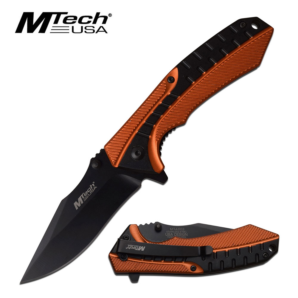 "Spring-Assist Folding Knife Mtech 3.4"" Black Blade Orange Tactical Utility 1003"