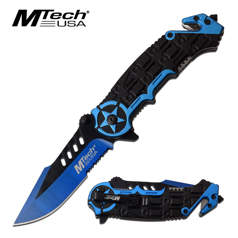 Tactical Rescue Spring-Assist Folding Knife | Mtech Blue Star 3.6