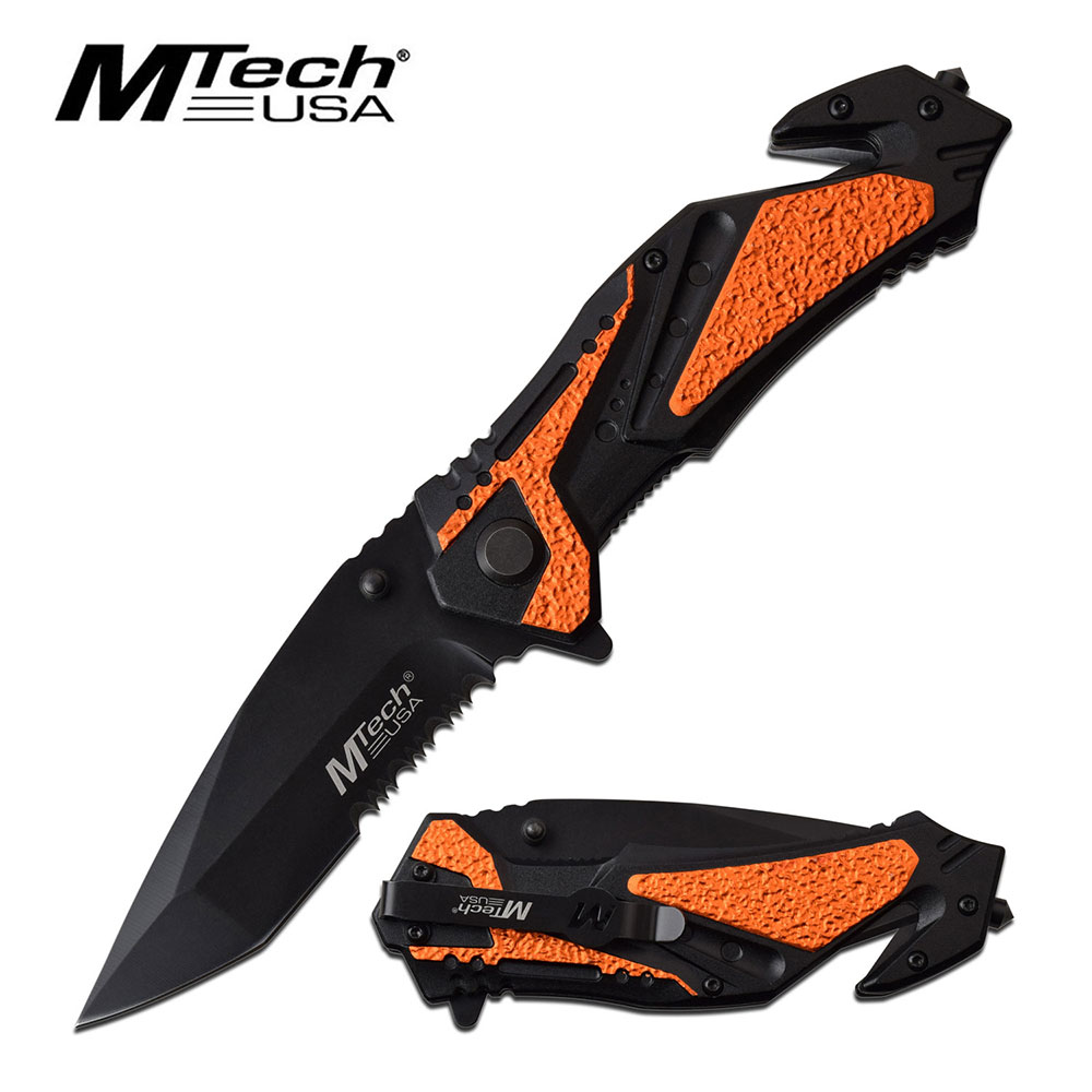 "Spring-Assist Folding Knife 3.5"" Black Serrated Blade Tactical Rescue Edc Orange"