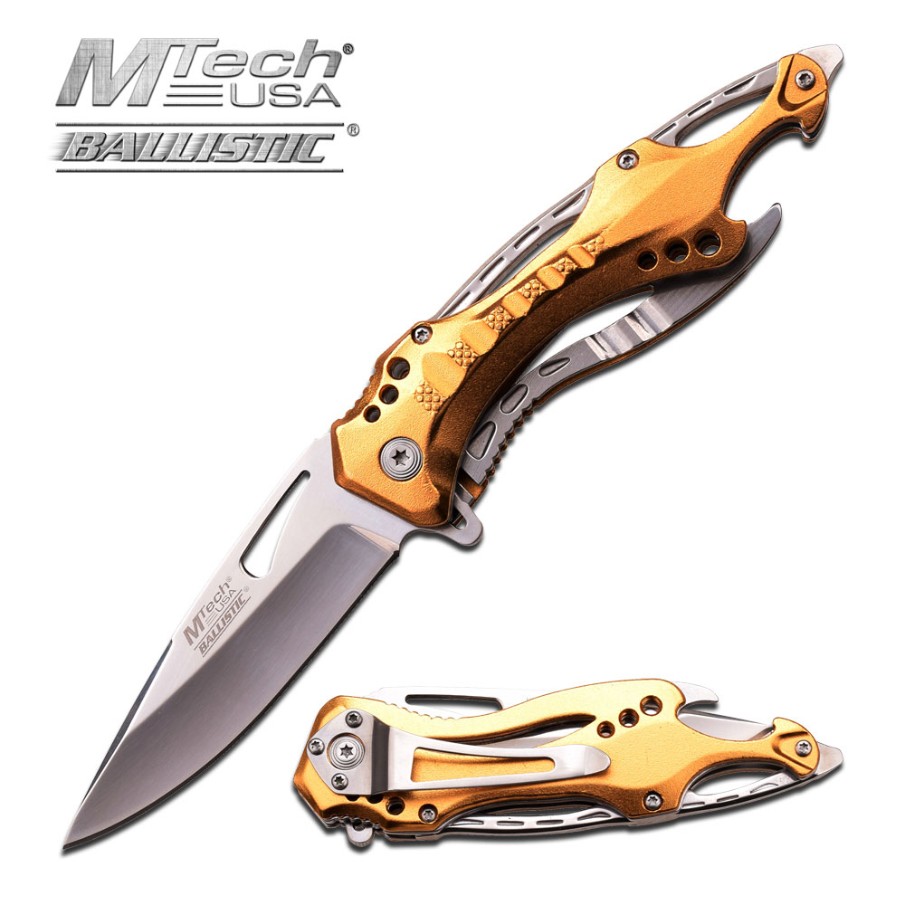Spring-Assist Folding Pocket Knife | Mtech Silver Gold Tactical Survival Blade