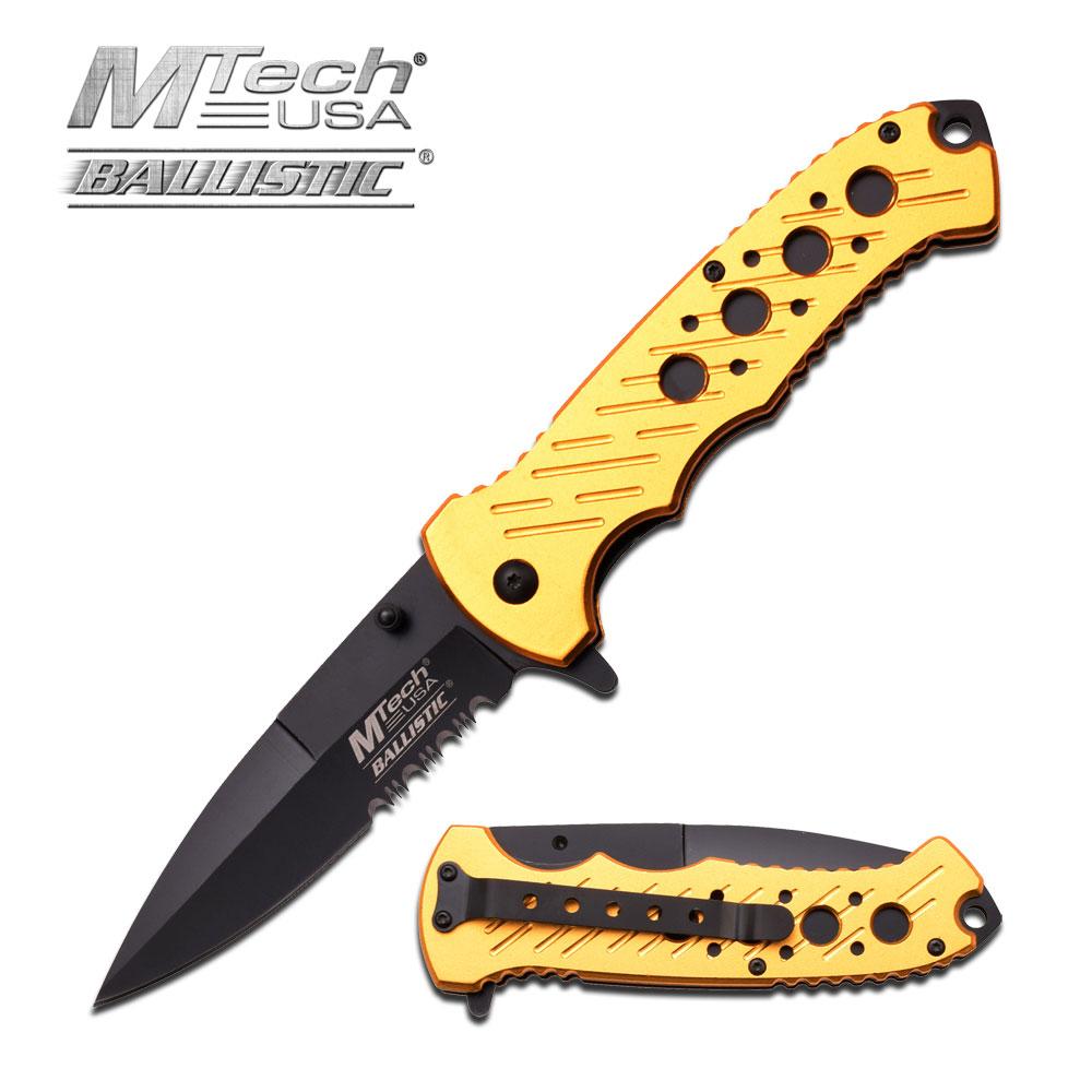 Spring-Assist Folding Pocket Knife Mtech Gold Black Serrated Stiletto Blade Tac