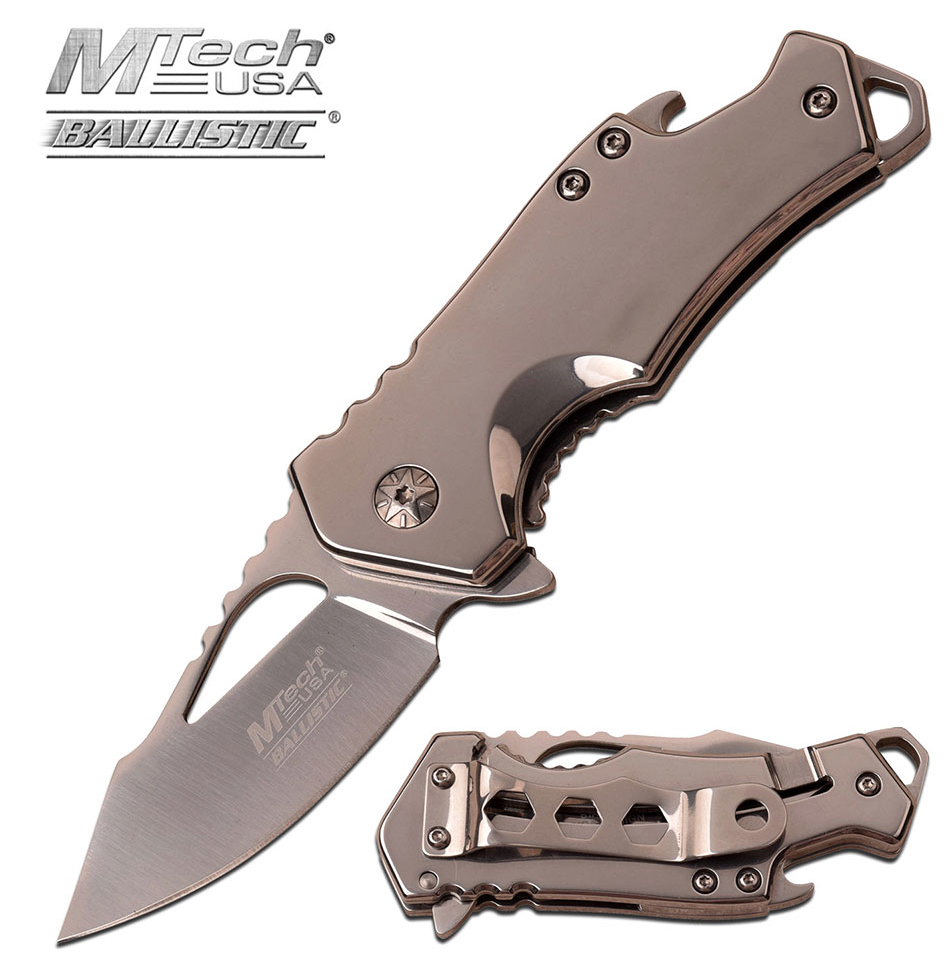 Spring Assisted Folding Pocket Knife Mtech Compact Blade Chrome Tactical Edc