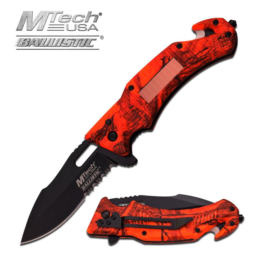 Spring-Assist Folding Pocket Knife Mtech Red Camo Black Solar Led Light Tactical