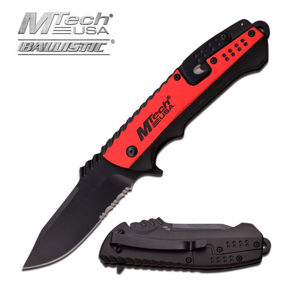 Spring-Assist Folding Pocket Knife Mtech Black Serrated Blade Red Utility Edc