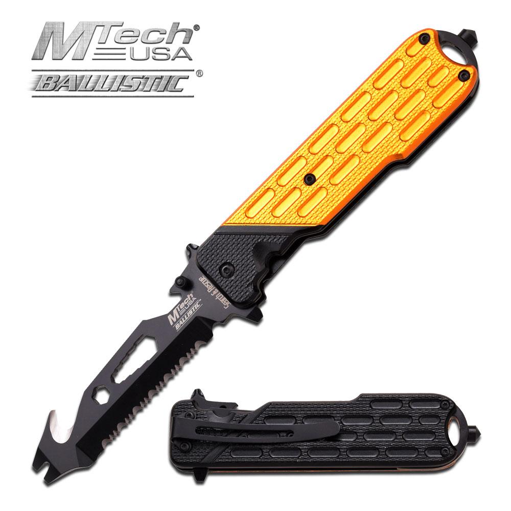 Spring-Assist Folding Pocket Knife Mtech Black Tactical Easy Open Serrated Blade