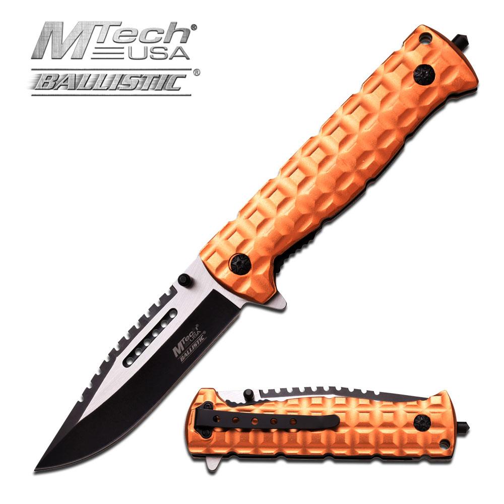 Spring-Assist Folding Pocket Knife Mtech Black Blade Tan Tactical Glass Break
