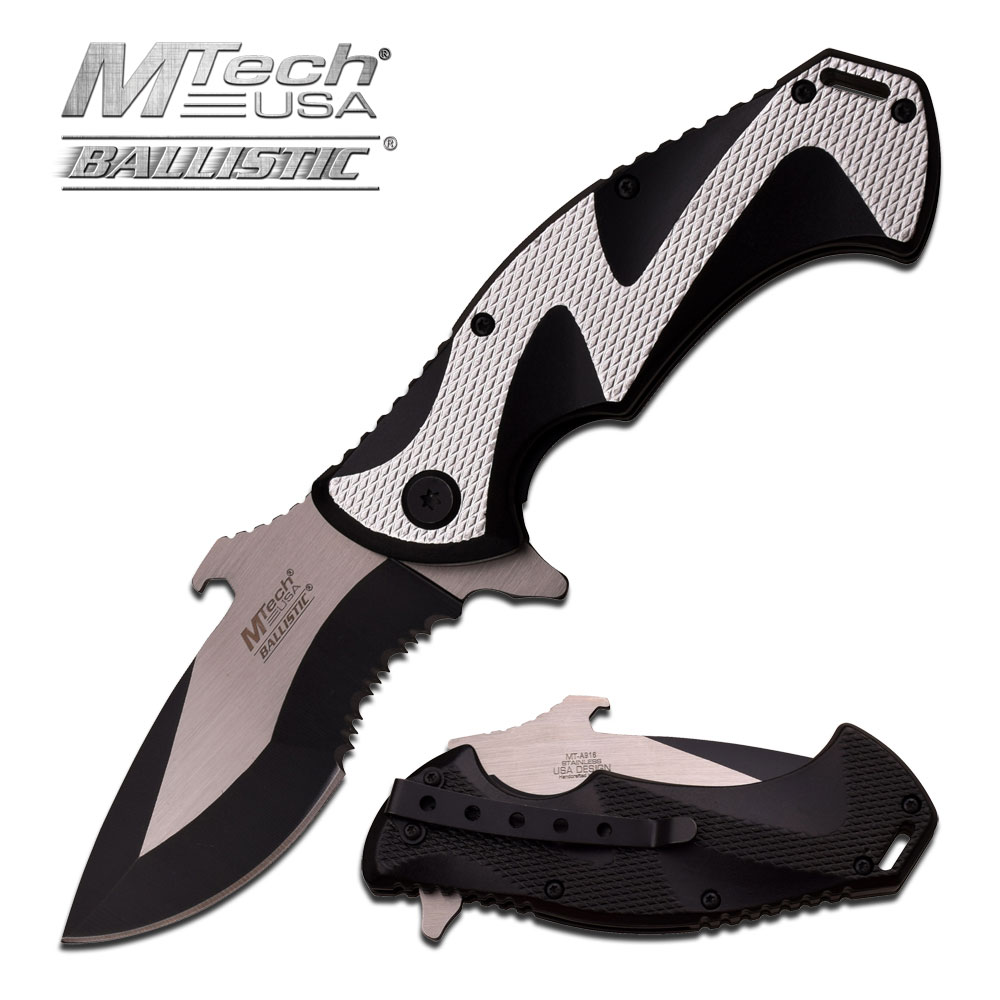 SPRING-ASSIST FOLDING POCKET KNIFE Mtech Silver Black Serrated Tac Bottle Opener