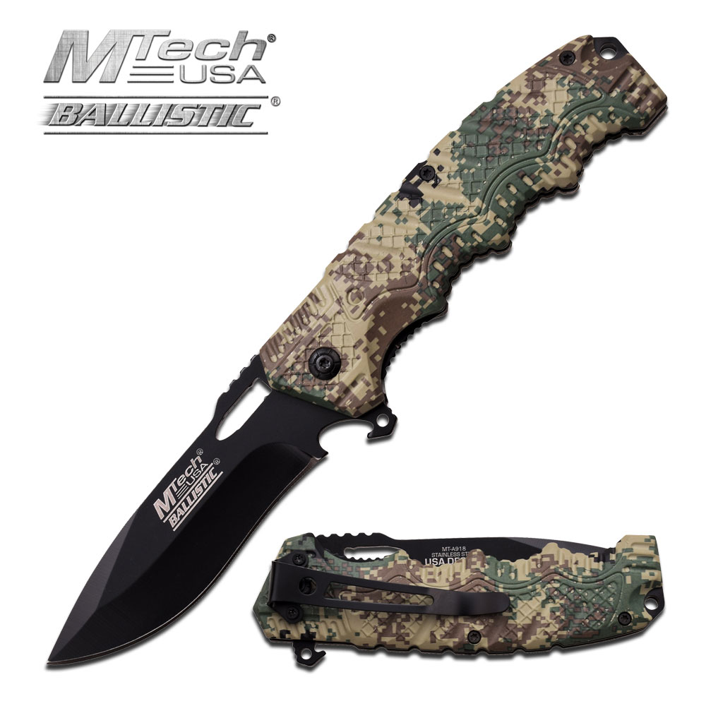 Spring-Assist Folding Pocket Knife Mtech Black Plain Blade Tactical Digital Camo